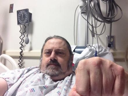 Fist pump hospital selfi